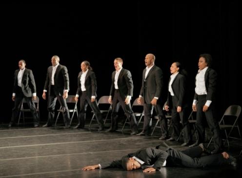 Alvin Ailey American Dance Theater in Ohad Naharin's Minus 16. Photo by Paul Kolnik