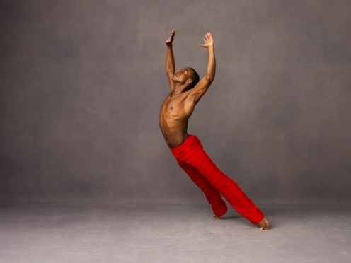 Alvin Ailey American Dance Theater's Kirven James Boyd in Robert Battles Takademe. Photo by Andrew Eccles