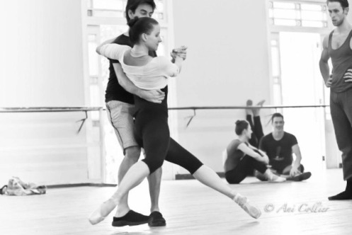 Tom Gold, Abi Stafford and Adrian Danshig-Waring in rehearsal. Photo credit is by Ari Collier