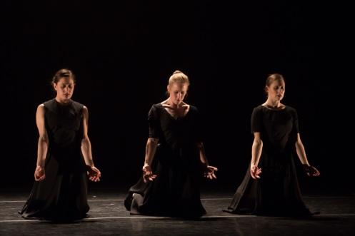 "Christina Ilisije, Lauren Garson & Melissa Ullom in ""Black Flowers"" Photo by Eric Bandiero."