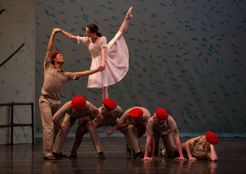 Juilliard Dances Repertory in Paul Taylor's Sunset: Raymond Pinto (standing), Michele Carter, Jordan Lefton, Nicholas Ranauro, Alexander Jones, Christopher Kaiser, Evan Schwarz (on the floor). Photo by Rosalie O'Connor