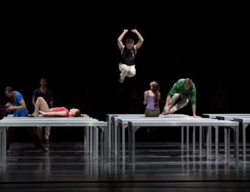 Juilliard Dances Repertory in William Forsythe's One Flat Thing, reproduced: L to R: Alexander Anderson, Taner Van Kuren, Molly Griffin (on table), Robbie Moore (in the air), Kristina Bentz, Blake Krapels. Photo by Rosalie O'Connor