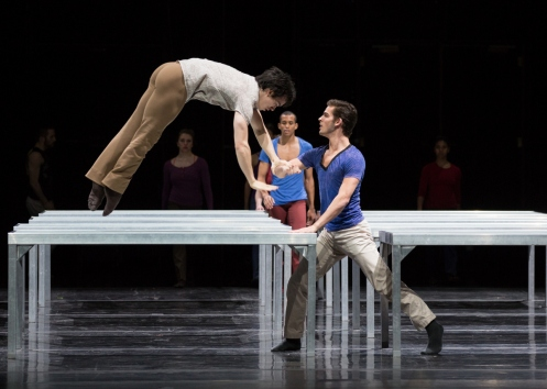 Juilliard Dances Repertory David Norsworthy &Taner Van Kuren with Alexander Anderson in the background in William Forsythe's One Flat Thing, Reproduced. Photo by Rosalie O'Connor