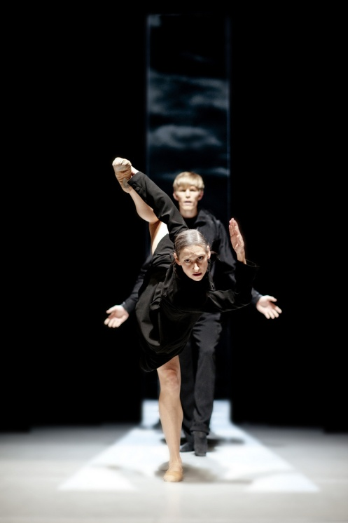 Parvaneh Scharafali (Front) & Silas Henriksen (Back) in Schmetterling, Nederlands Dans Theater.  Photo by Rahi Rezvani