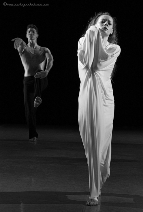 Graham II Dancers Charlotte Landreau & Lorenzo Pagano in Martha Graham's Acts of Light. Photo by Paul b. Goode