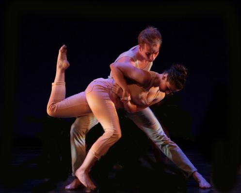 Purchase Dance Company's Kathleen Bollana & Olivier Greene-Cramer in Ori Flomin's (in)Visible Spectrum. Photo: Ted Kivitt