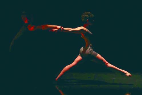 Purchase Dance Company's Natalia Bizinha & Robert Lewis in Sarah Mettin's In a Roofless Room.  Photo: Ted Kivitt