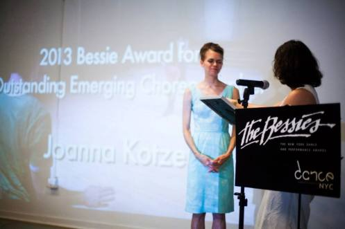 Joanna Kotze receiving the 2013 Bessie Award for Outstanding Emerging Choreographer