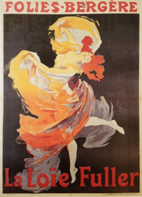 : Jules Chéret's 1893 poster advertising Loïe Fuller's performances at the Folies Bergère is one of the most iconic images of Art Nouveau. Utilizing the new technology of chromolithography, it reproduced the brilliant colors Fuller achieved on stage with the new technology of electric lighting. It appeared in four different color combinations and was later re-printed in Chéret's Maître d'Affiche, a small-format collection of poster art. Although compelling, the image is hardly a likeness of Fuller and the flagrant exposure of the dancer's physique is pure fantasy. (Collection William G. & Sally R. Sommer.)