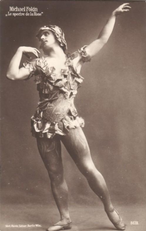 Vaslav Nijinsky in Micheal Fokine's Spectre de la Rose, 1911. Ballet Russe