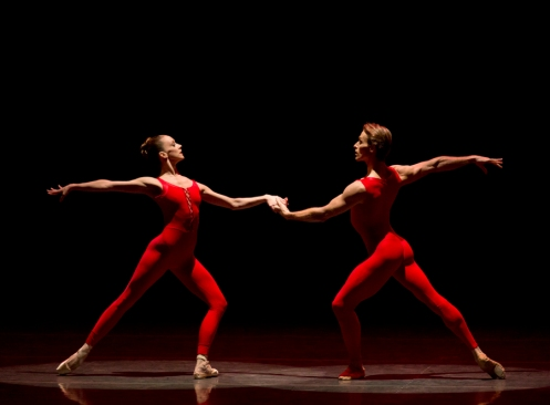 Maria Kowroski and Adrian Danchig-Waring in Red Angels. Choreography by Ulysses Dove for New York City Ballet. Photo: Paul Kolnik