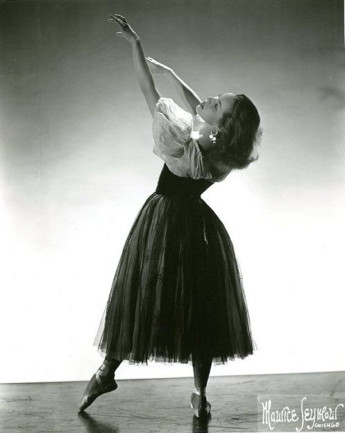 Maria Tallchief in George Balanchine's Le Baiser de la Fée, one of many ballets in which the choreographer explored woman as muse and as unattainable object, a theme that is interwoven with his marriages to dancers for whom he created works, including Tallchief, who was married to Balanchine from 1946 to 1951. (Photograph by Maurice Seymour. Ann Barzel Dance Research Collection, The Newberry Library, Chicago.)