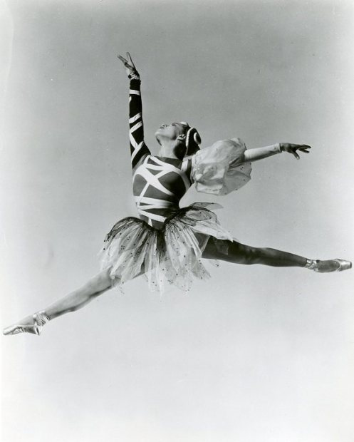 Maria Tallchief in George Balanchine's The Four Temperaments. Tallchief danced the role of Sanguinic in early performances of the ballet, which featured elaborate costumes later replaced by plain leotards. Tallchief recounted how Balanchine worked intensively to develop and transform her technique, making her one of the first ballerinas to embody the choreographer's trademark style. (Ann Barzel Dance Research Collection, The Newberry Library, Chicago.)