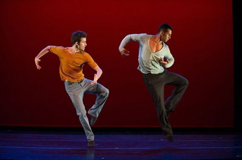 "Guzmán Rosado (left) and Miguel Perez perform in Richard Siegel's ""o2Joy"". Photo: Christopher Duggen"