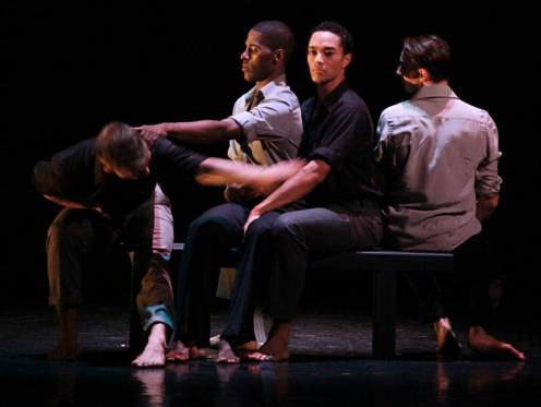 "Tadej Brdnik, Lloyd Knight, Abdiel Jacobsen, Maurizio Nardi in Martha Graham Dance Company's ""Lamentation Variations / Varone Variation"", Choreography by Doug Varone, Photo by Paula Kajar"