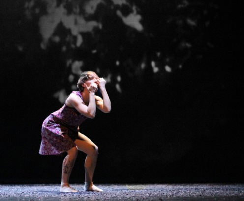 "Cedar Lake Contemporary Ballet's Acacia Schachte in Johan Inger's ""Rain Dogs""; Photo by Ally Duffey. Courtesy of Cedar Lake, Inc."