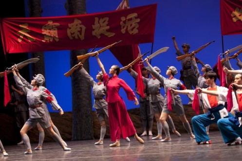 "The National Ballet of China rehearses ""The Red Detachment of Women"" at the Kennedy Center. (Daniel Schwartz/)"