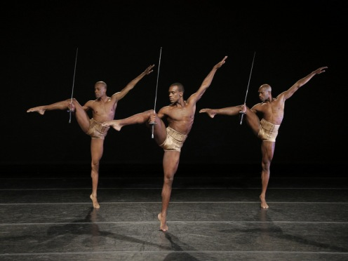 Alvin Ailey American Dance Theater's Yannick Lebrun, Kirven Douthit-Boyd and Antonio Douthit-Boyd in Jirí Kylián's Petite Mort. Photo by Paul Kolnik.