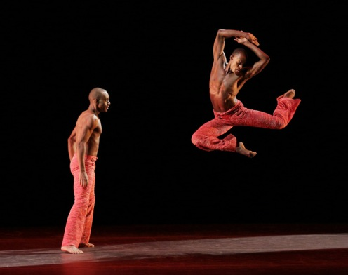 Alvin Ailey American Dance Theater's Kirven Douthit-Boyd and Samuel Lee Roberts in Robert Battle's Strange Humors. Photo by Paul Kolnik