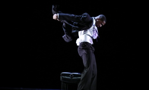 "10 Hairy Legs' Kyle Marshall in Claire Porter's ""Piano"". Photo: Steven Trumon Gray"""