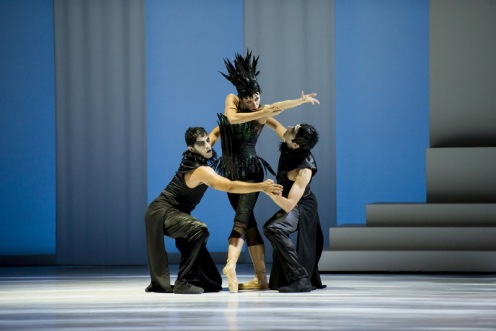 Les Ballets de Monte Carlo's Bruno Roque (left), Maude Sabourin & Asier Edesoby in Christopher-Jean Maillot's LAC (after Swan Lake). Photo: Alice Blangero