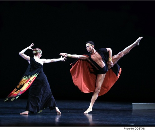 "Martha Graham Dance Company's Blakeley White-McGuire  as Electra & Abdiel Jacobsen as Orestes in Martha Graham's ""Clytemnestra"""