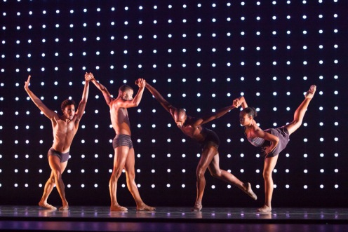 "Michael Montgomery, Ricardo Zayas, Keelan Whitmore & Ashely Jackson in Alonzo King's ""Constellation"". Photo by Margo Moritz."