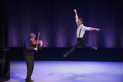 Violinist Karl Nikkanen with Daniel Ulbricht in Johan Kobborg's 'Les Lutin' for the 4th Annual dance Against Cancer. Photo: Christopher Duggan