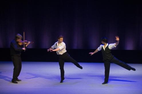 Hernan Cornejo & Daniel Ulbricht with violinist Karl Nikkanen in Johan Kobborg's 'Les Lutin' for the 4th Annual dance Against Cancer. Photo: Christopher Duggan