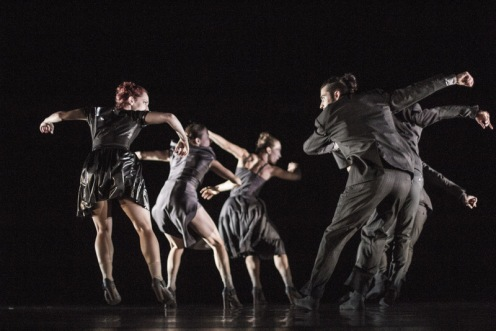 Satellite Collective's Mistral Hay, Jennifer Rose, Elena Valls, Isaies Santamaria, (Alexander Anderson and Michael Wright are lined up toward upstage behind Isaies Santamaria) in Manuel Vignoulle's 'Rituals'. Photo: Lora Robertson