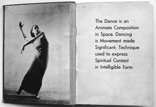 Endpapers of Martha Graham by Merle Armitage. Los Angeles M. Armitage, 1937. Crossett Library