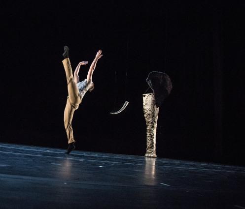"10 Hairy Legs' in Alex Biegelson Julie Bour's ""The Blind Men and the Elephant"".  Scenic Design: Benjamin Heller.  Photo: Steven Trumon Gray"