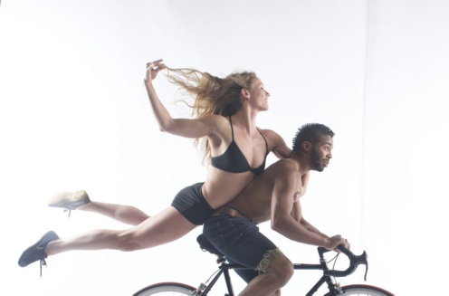 "Jordan Kriston & Derion Loman from Pilobolus in ""The Inconsistent Pedaler"" Photo: Robert Whitman"