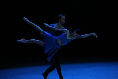 "The Mariinsky Ballet's Kristina Shapran & Andrei Yermakov in Benjamin Millepied's ""Without"" at BAM Howard Gilman Opera House. Photo: Julieta Cervantes"