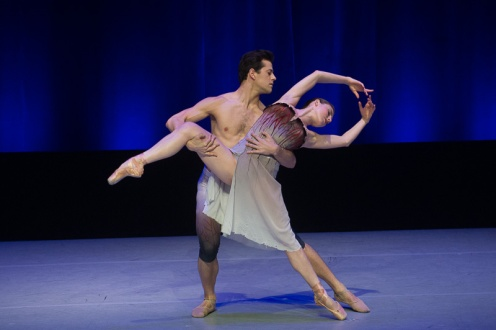New York City Ballet's Tiler Peck and Robert Fairchild in Liam Scarlett's 'Acheron.' Part of the Fourth Annual Dance Against Cancer. Photo: Christopher Duggan