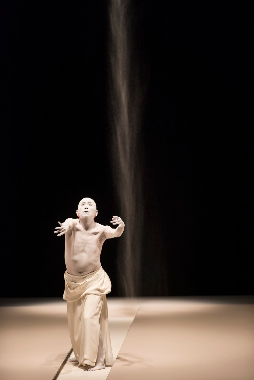 Ushio Amagatsu, founder and choreographer of the Japanese Butoh Company Sankai Juku performs in the 'Atokata: Imprints' section of his 'Umusuna: Memories Before History' in the 2015 Next Wave Festival at the BAM Howard Gilman Opera House, CREDIT: Photograph © 2015 Jack Vartoogian/FrontRowPhotos. ALL RIGHTS RESERVED.