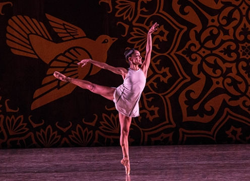 Jeanette Delgado performing in Heatscape by Justin Peck. Photo by Daniel Azoulay