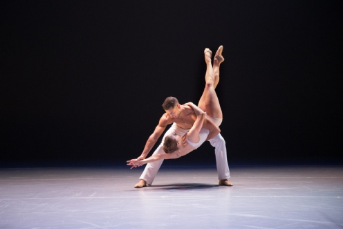 "BalletX dancers Richard Villaverde & Chloe Felesina in ""Gran Partita"" by Jorma Elo. Photo by Alexander Iziliaev."