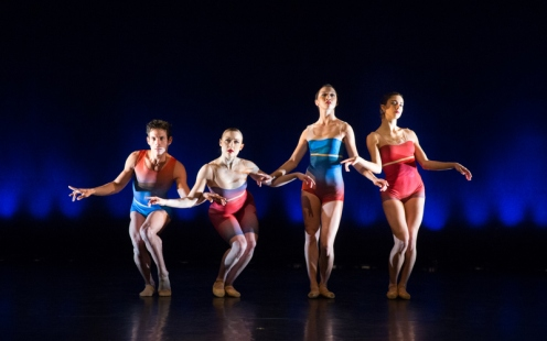 "BalletX dancers Edgar Anido, Chloe Felesina, Caili Quan, & Francesca Forcella in ""Show Me' by Matthew Neenan. Photo by Alexander Iziliaev."